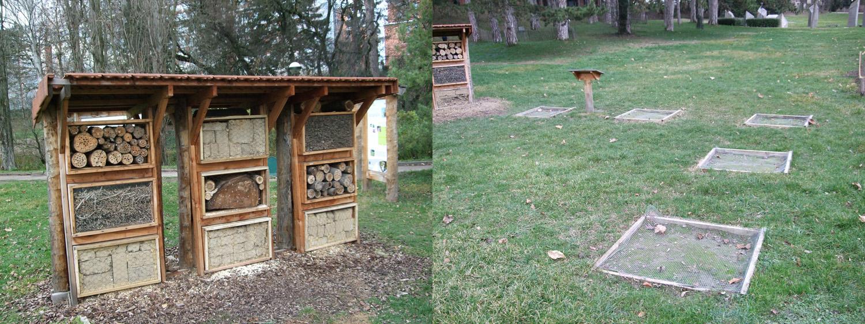 Photographies des hôtels à abeilles et emplacement de nidification au sol.