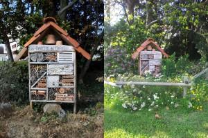 Photos de l'hôtel à Insectes de Caluire en hiver et en été avec les floraisons autour.