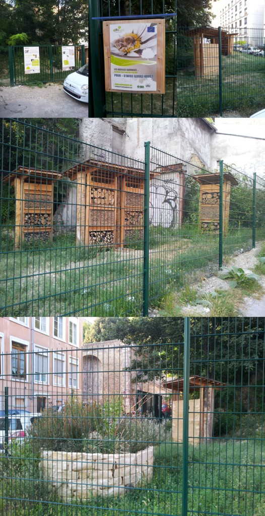 Montage de plusieurs photos sur l'installation Urbanbees sur les pentes de la Croix-Rousse (69001)