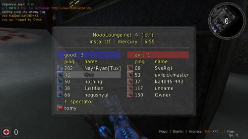Capture d'écran sauerbraten pour illustrer les statistiques affichées par un script