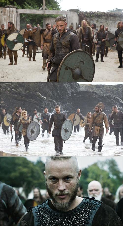 Trois images issues de la série Vikings