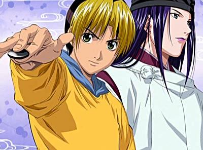 Image de Hikaru et Sai, Hukaru tendant la main avec un pion de Go comme pour le poser